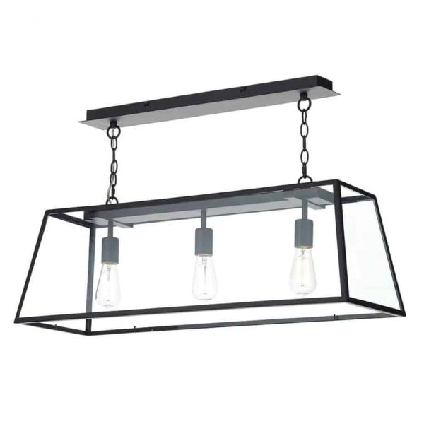 ACADEMY 3 LIGHT PENDANT BLACK  Thompsons Lighting & Interiors