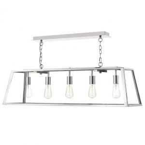 ACADEMY 5 LIGHT PENDANT STAINLESS STEELE