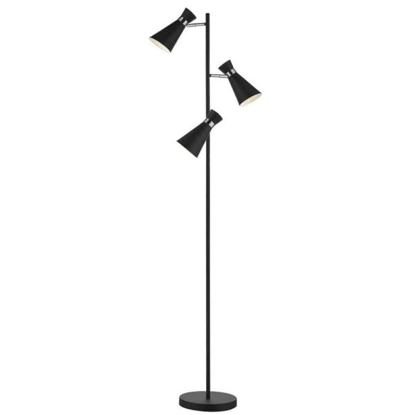 ASHWORTH 3 LIGHT FLOOR LAMP MATT BLACK & POLISHED CHROME  Thompsons Lighting & Interiors
