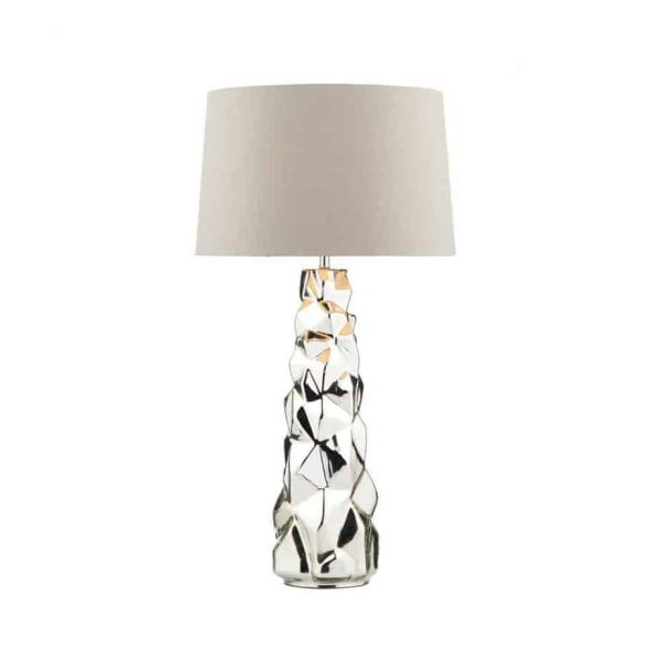 GIUSEPPE TABLE LAMP SILVER COMPLETE WITH SHADE  Thompsons Lighting & Interiors