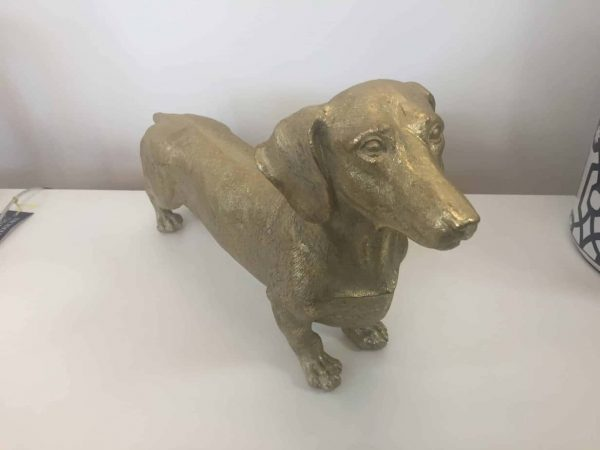 GOLD DACHSHUND HOUND FIGURE  Thompsons Lighting & Interiors