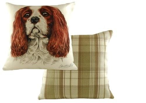 Waggydogz Boston Collection-King Charles Cushion  Thompsons Lighting & Interiors