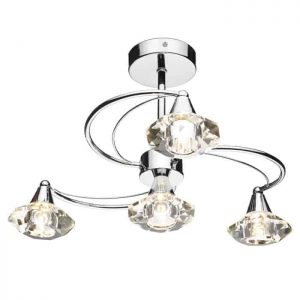 LUTHER 4 LIGHT SEMI FLUSH, SATIN CHROME