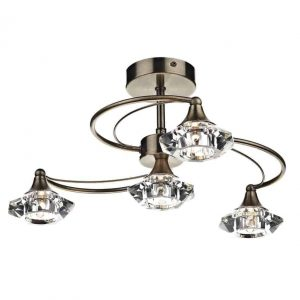 LUTHER 4 LIGHT SEMI FLUSH, ANTIQUE BRASS