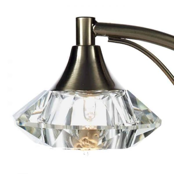 LUTHER 1 LIGHT TABLE LAMP COMPLETE WITH CRYSTAL GLASS SATIN CHROME  Thompsons Lighting & Interiors