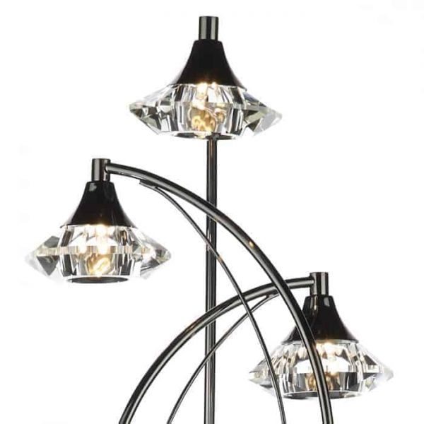 LUTHER 3 LIGHT FLOOR LAMP COMPLETE WITH CRYSTAL GLASS BLACK CHROME  Thompsons Lighting & Interiors