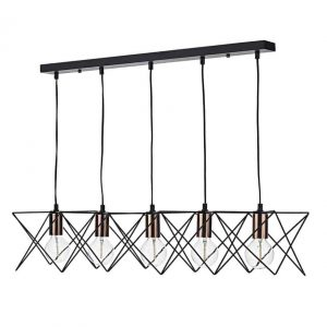 Midi 5 Light Bar Pendant Black And Copper