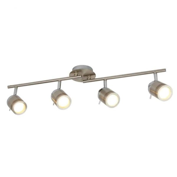 SAMSON 4 LIGHT IP44 BATHROOM SPOT SPLIT-BAR, SATIN SILVER  Thompsons Lighting & Interiors