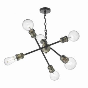 BRIGADE 6lt PENDANT BLACK & ANTIQUE BRASS