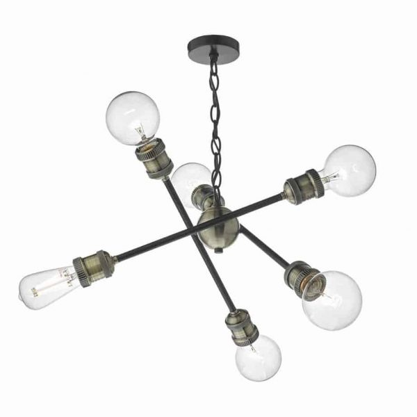 BRIGADE 6lt PENDANT BLACK & ANTIQUE BRASS  Thompsons Lighting & Interiors