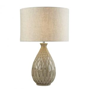 CADENCE TABLE LAMP – NEUTRAL CERAMIC BASE, HESSIAN SHADE