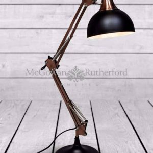ZEE- MATT BLACK/VINTAGE COPPER ARMS DESK LAMP