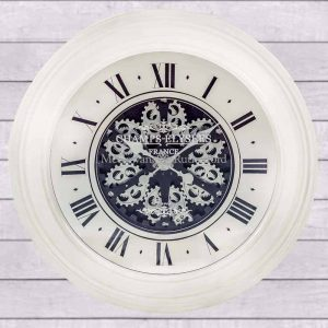 ANTIQUE CREAM MIRRORED FACE ANTIQUE STYLE MOVING GEARS CLOCK