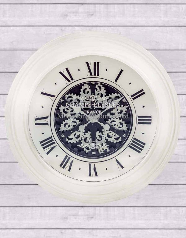 ANTIQUE CREAM MIRRORED FACE ANTIQUE STYLE MOVING GEARS CLOCK  Thompsons Lighting & Interiors