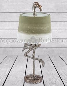 ZEE- ANTIQUE SILVER FLAMINGO TABLE LAMP SAGE FADE SHADE
