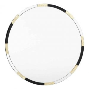 GADANY ROUND GOLD LEAF AND BLACK GLASS MIRROR 80CM