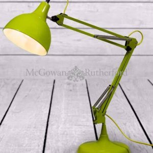 LIME GREEN TRADITIONAL DESK LAMP (YELLOW FABRIC FLEX)