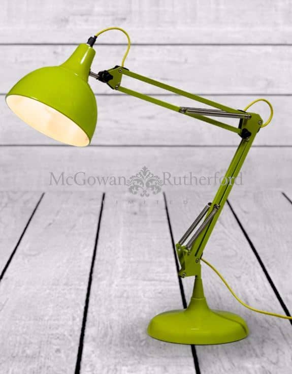 ZEE- LIME GREEN TRADITIONAL DESK LAMP (YELLOW FABRIC FLEX)  Thompsons Lighting & Interiors