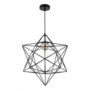 LUANDA 1 LIGHT PENDANT MATT BLACK & Bright COPPER DETAIL