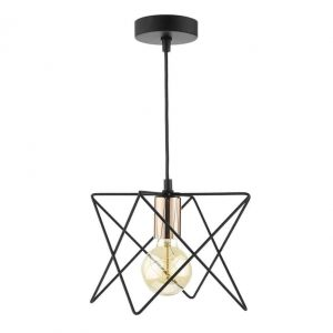 MIDI 1 LIGHT PENDANT MATT BLACK & BRIGHT COPPER DETAIL
