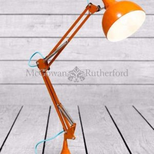 ZEE – ORANGE TRADITIONAL DESK LAMP (BLUE FABRIC FLEX)