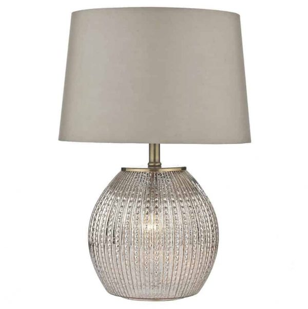 SONIA TABLE LAMP ANTIQUE SILVER COMPLETE WITH ILLUMINATED BASE  Thompsons Lighting & Interiors