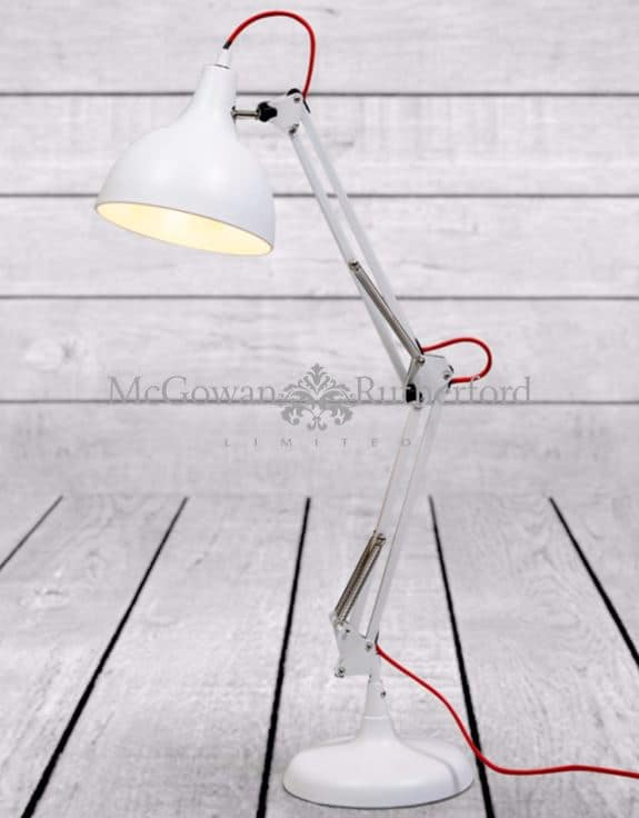 ZEE- MATT WHITE TRADITIONAL DESK LAMP (RED FABRIC FLEX)  Thompsons Lighting & Interiors