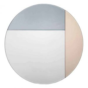 THALIA ROUND BLUE AND ROSE GOLD MIRROR 50CM