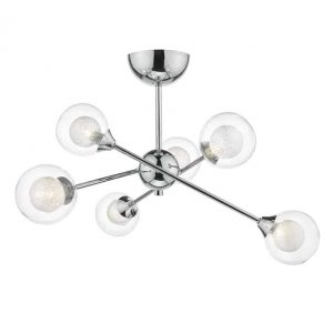 ZEKE 6 LIGHT SEMI FLUSH POLISHED CHROME