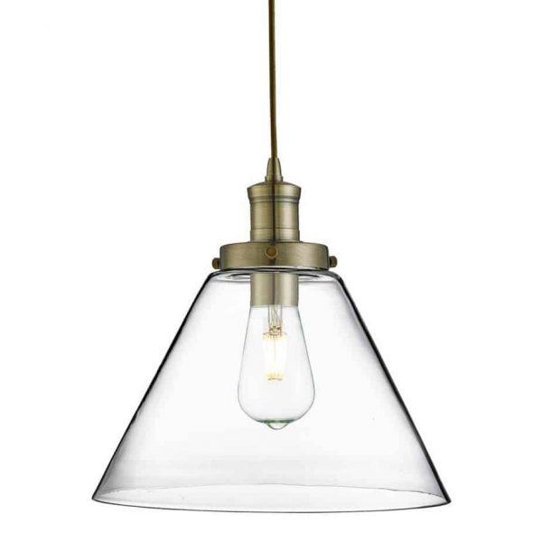PYRAMID ANTIQUE BRASS PENDANT LIGHT WITH CLEAR GLASS SHADE  Thompsons Lighting & Interiors