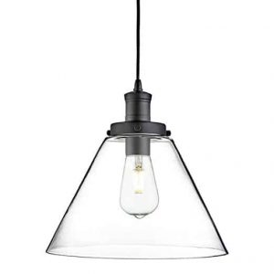 PYRAMID MATT BLACK PENDANT LIGHT WITH CLEAR GLASS SHADE