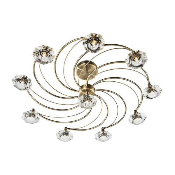 LUTHER 10 LIGHT SEMI FLUSH ANTIQUE BRASS  Thompsons Lighting & Interiors