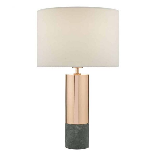 DIGBY TABLE LAMP COPPER & GREEN WITH SHADE  Thompsons Lighting & Interiors