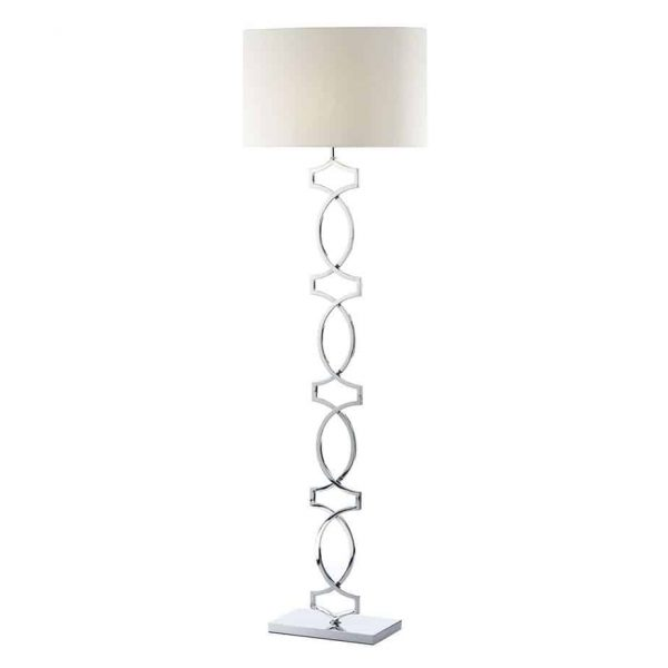 DONOVAN FLOOR LAMP POLISHED CHROME COMPLETE WITH SHADE  Thompsons Lighting & Interiors