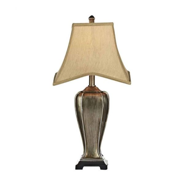EMLYN TABLE LAMP SILVER/GOLD COMPLETE WITH SHADE  Thompsons Lighting & Interiors
