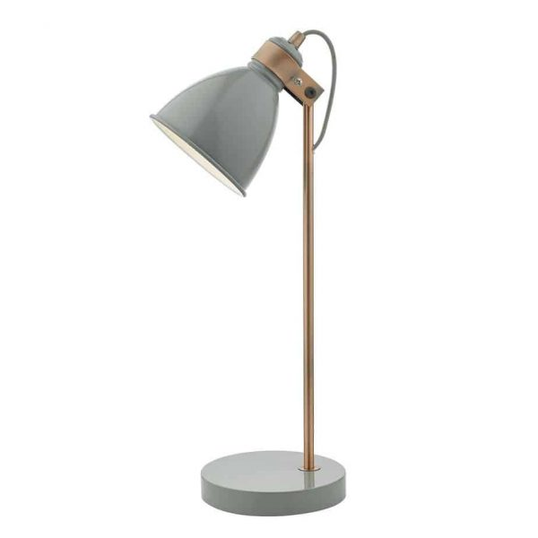 FREDERICK TASK LAMP GREY & COPPER  Thompsons Lighting & Interiors