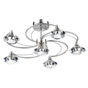 LUTHER 6 LIGHT SEMI FLUSH POLISHED CHROME