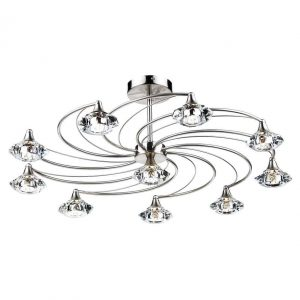 LUTHER 10 LIGHT SEMI FLUSH SATIN CHROME