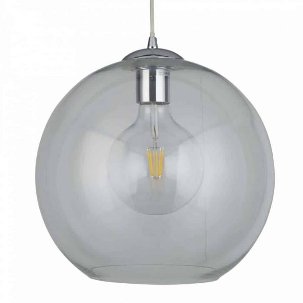 BALLS 1 LIGHT ROUND PENDANT (30CM DIA), CLEAR GLASS, CHROME  Thompsons Lighting & Interiors