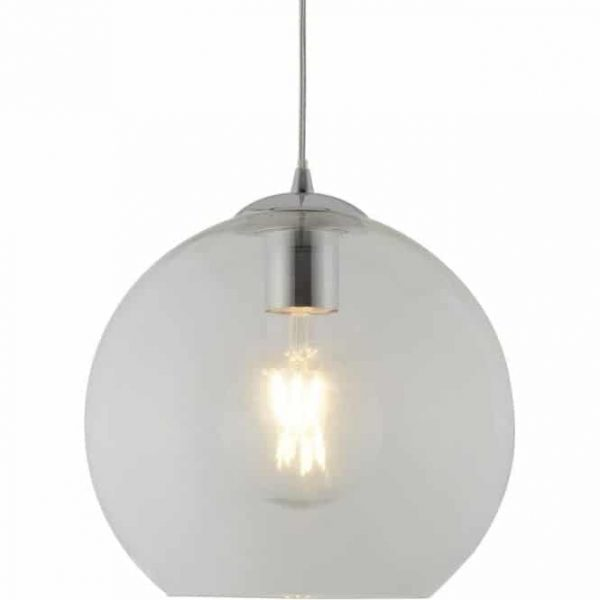 BALLS 1 LIGHT ROUND PENDANT (25CM DIA), CLEAR GLASS, CHROME  Thompsons Lighting & Interiors