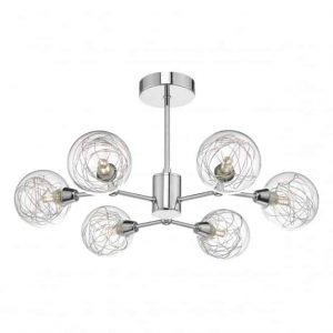 TYKA 6LT SEMI FLUSH POLISHED CHROME & GLASS CEILING LIGHT