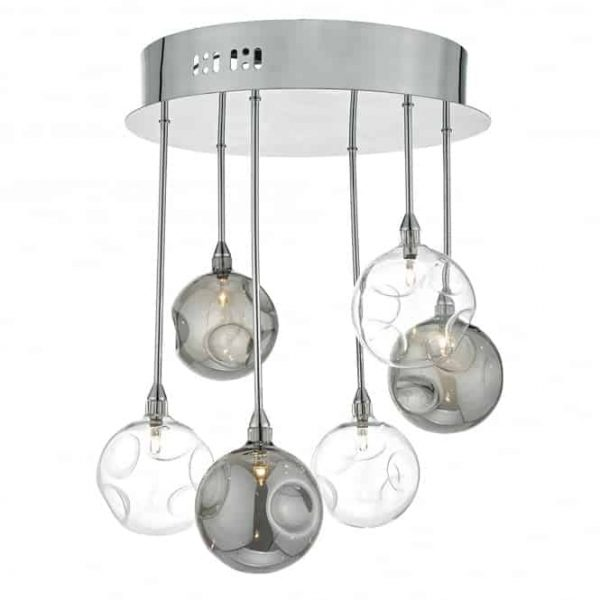 QUINN 6lt SEMI FLUSH POLISHED CHROME WITH SMOKED CLEAR GLASS  Thompsons Lighting & Interiors