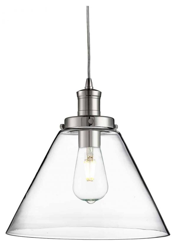 PYRAMID CHROME PENDANT LIGHT WITH CLEAR GLASS SHADE  Thompsons Lighting & Interiors