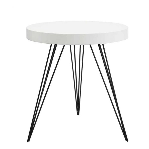 SIBFORD ROUND TABLE GLOSS WHITE TOP  Thompsons Lighting & Interiors