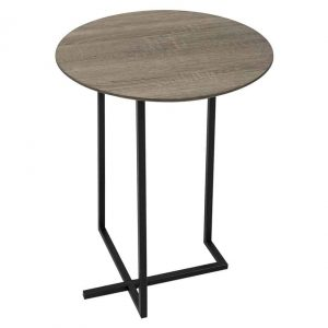 TAMWORTH ROUND SIDE TABLE OAK STYLE VENEER TOP
