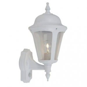 LATINA POLYCARBONATE WALL LANTERN WITH PIR 42W WHITE