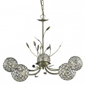 BELLIS II ANTIQUE BRASS 5 LIGHT FITTING WITH CLEAR METAL GLASS SHADES