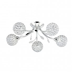 BELLIS II CHROME 5 LIGHT FITTING WITH CLEAR GLASS METAL SHADES
