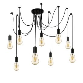 SQUIGGLE 9 LIGHT PENDANT BLACK  Thompsons Lighting & Interiors