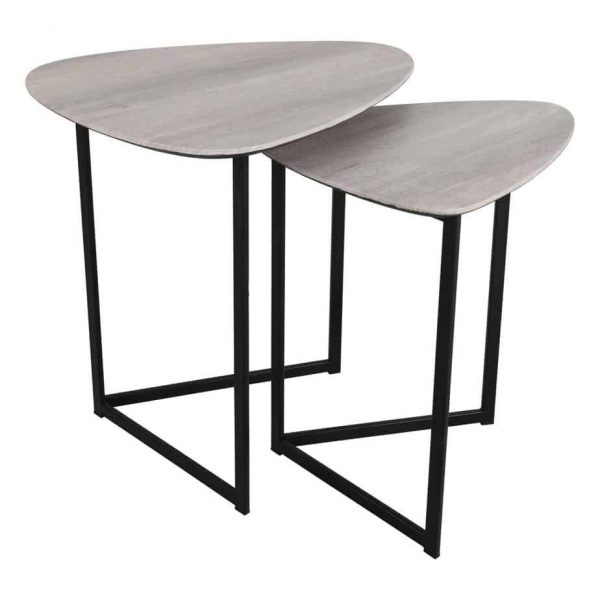 MIBELLO NEST OF 2 SIDE TABLES SILVERED OAK  Thompsons Lighting & Interiors